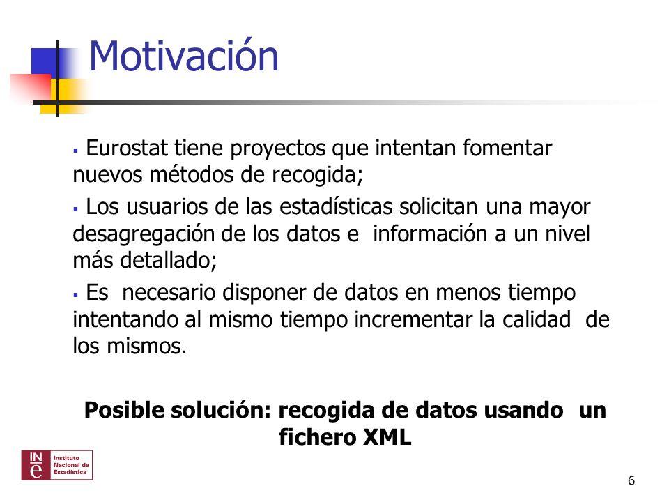 Posible solución: recogida de datos usando un fichero XML