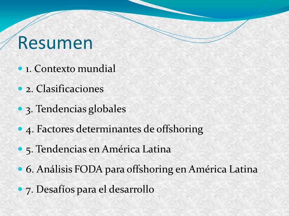 Resumen 1. Contexto mundial 2. Clasificaciones 3. Tendencias globales