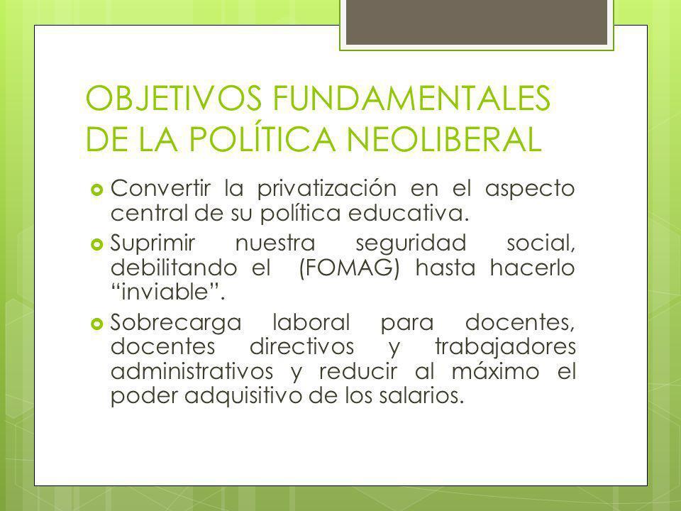 OBJETIVOS FUNDAMENTALES DE LA POLÍTICA NEOLIBERAL