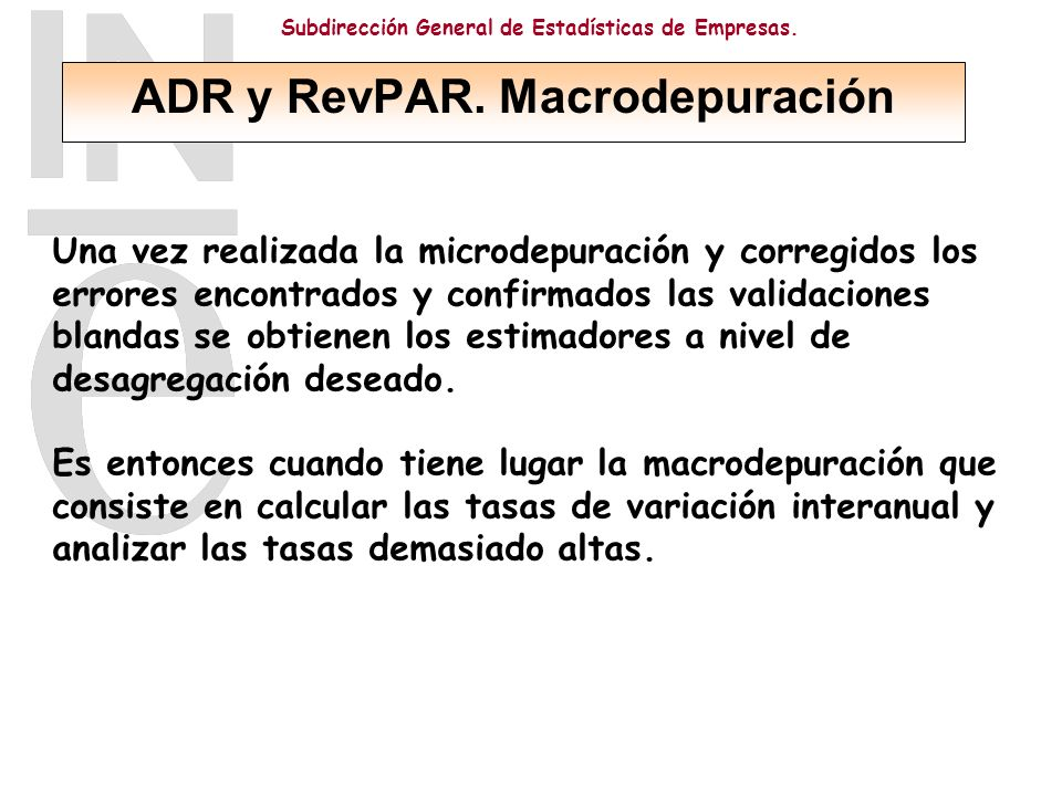 ADR y RevPAR. Macrodepuración
