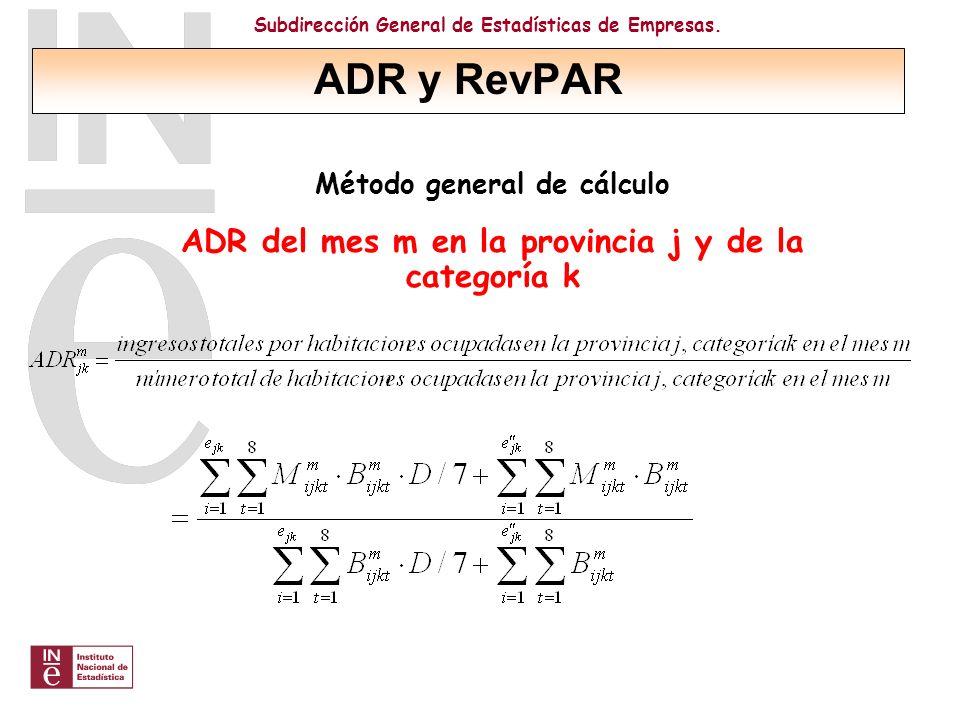 ADR y RevPAR ADR del mes m en la provincia j y de la categoría k