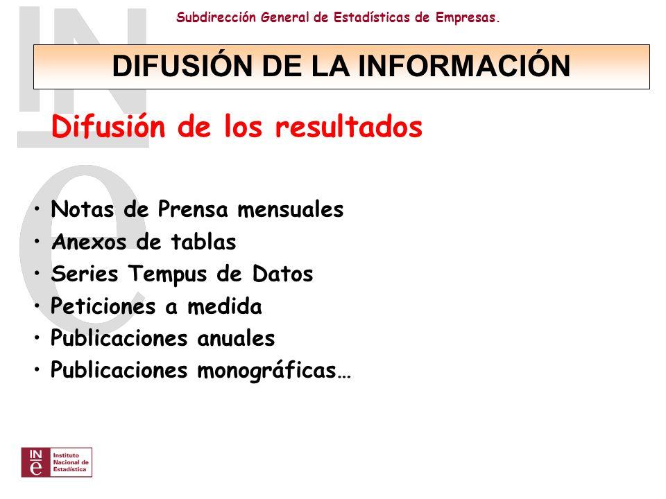 DIFUSIÓN DE LA INFORMACIÓN Difusión de los resultados