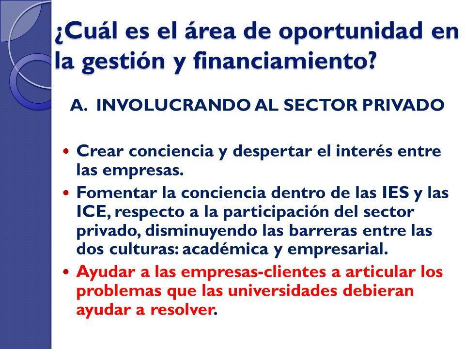 ¿Cuál es el área de oportunidad en la gestión y financiamiento