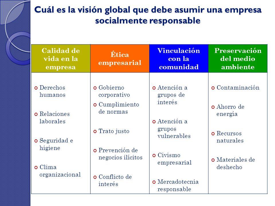 Cuál es la visión global que debe asumir una empresa socialmente responsable