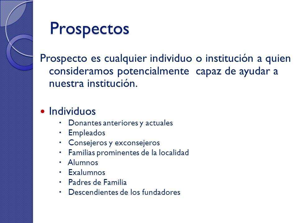 Prospectos Prospecto es cualquier individuo o institución a quien consideramos potencialmente capaz de ayudar a nuestra institución.