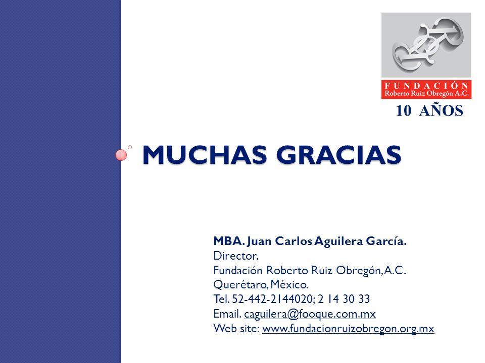 MUCHAS GRACIAS 10 AÑOS MBA. Juan Carlos Aguilera García. Director.