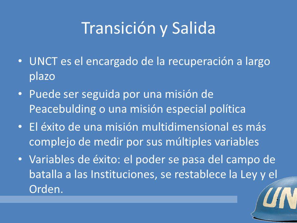 Transición y Salida UNCT es el encargado de la recuperación a largo plazo.