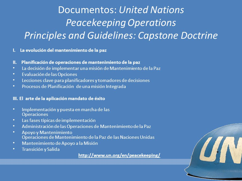 Documentos: United Nations Peacekeeping Operations Principles and Guidelines: Capstone Doctrine