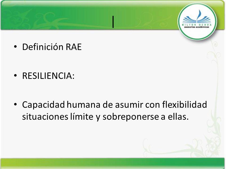 | Definición RAE RESILIENCIA: