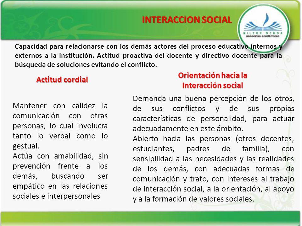 INTERACCION SOCIAL Orientación hacia la Actitud cordial