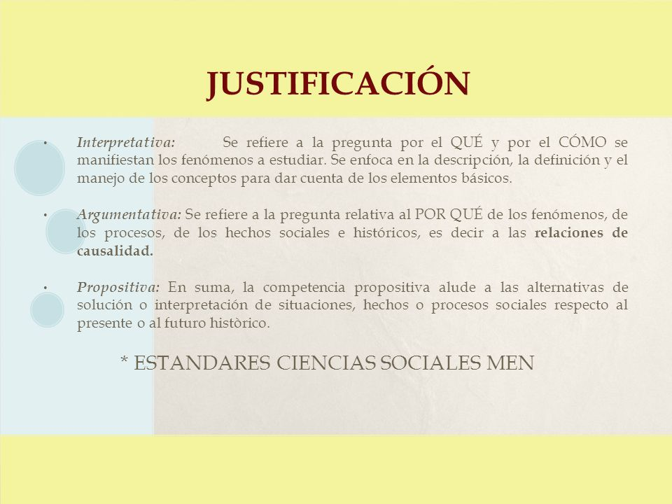justificación * ESTANDARES CIENCIAS SOCIALES MEN
