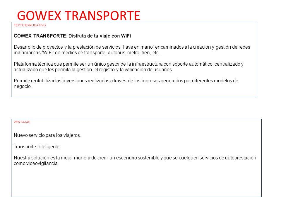 GOWEX TRANSPORTE GOWEX TRANSPORTE: Disfruta de tu viaje con WiFi