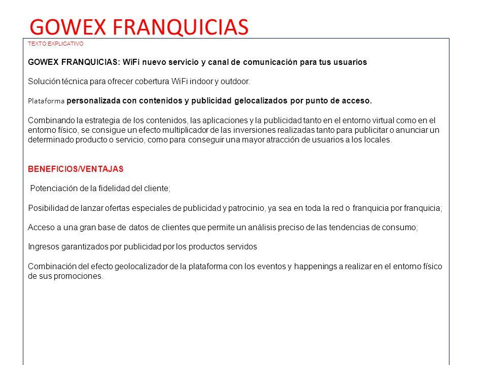 GOWEX FRANQUICIAS TEXTO EXPLICATIVO. GOWEX FRANQUICIAS: WiFi nuevo servicio y canal de comunicación para tus usuarios.