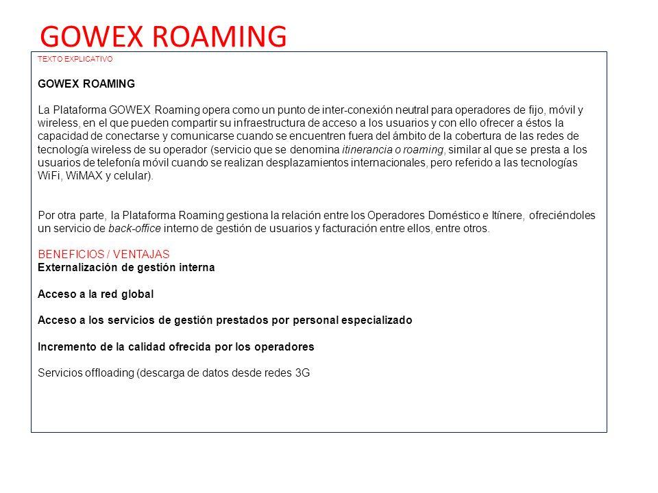 GOWEX ROAMING GOWEX ROAMING