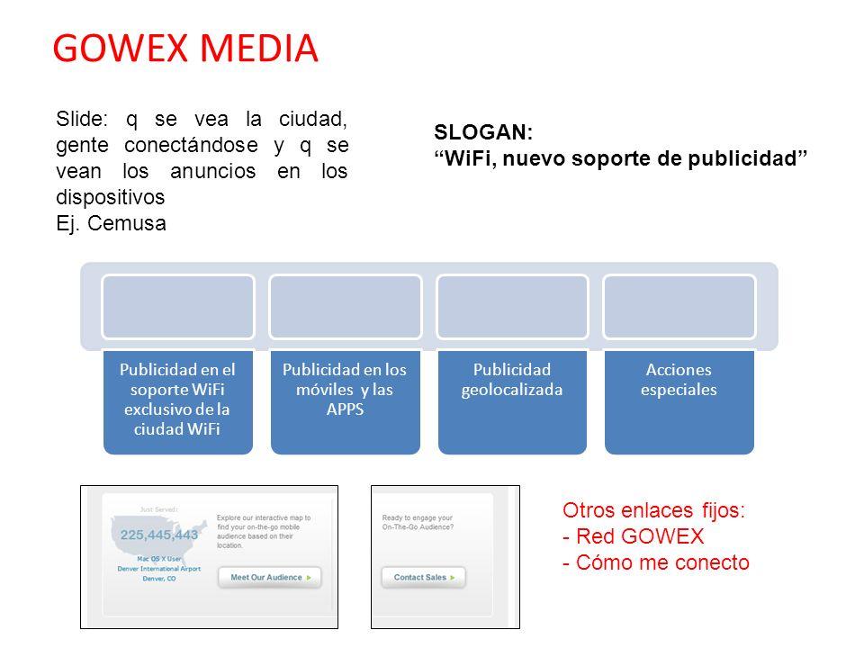 GOWEX MEDIASlide: q se vea la ciudad, gente conectándose y q se vean los anuncios en los dispositivos.