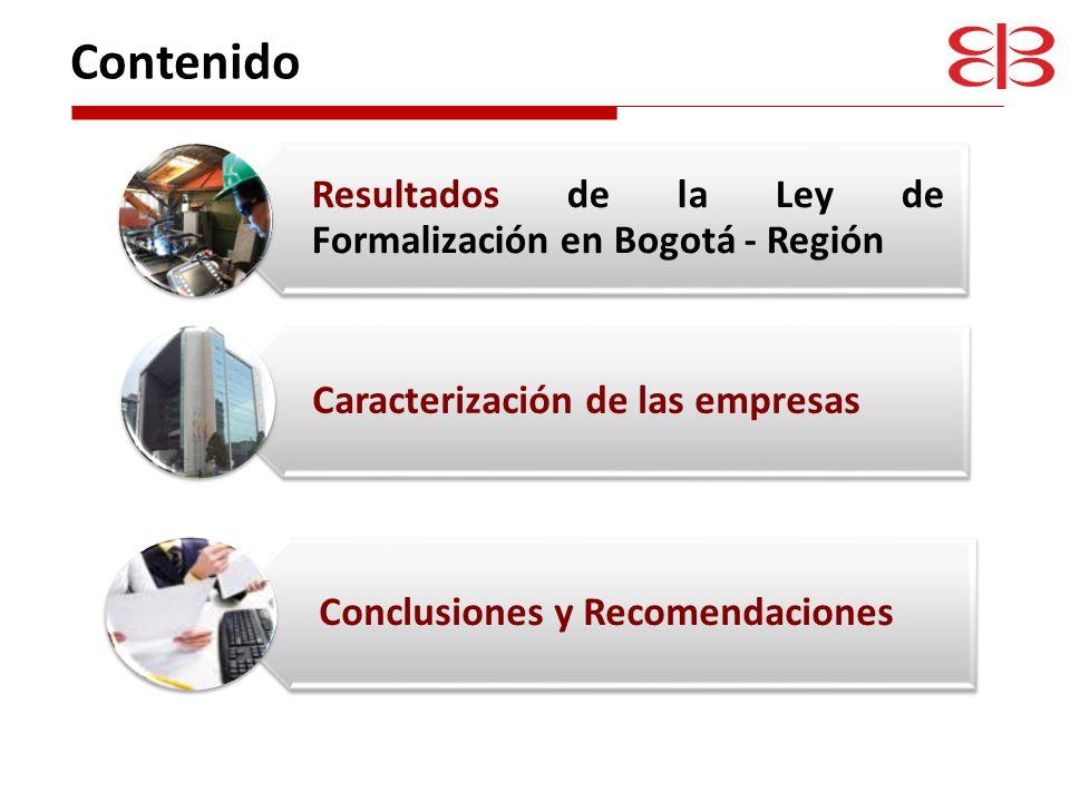Contenido Resultados de la Ley de Formalización en Bogotá - Región