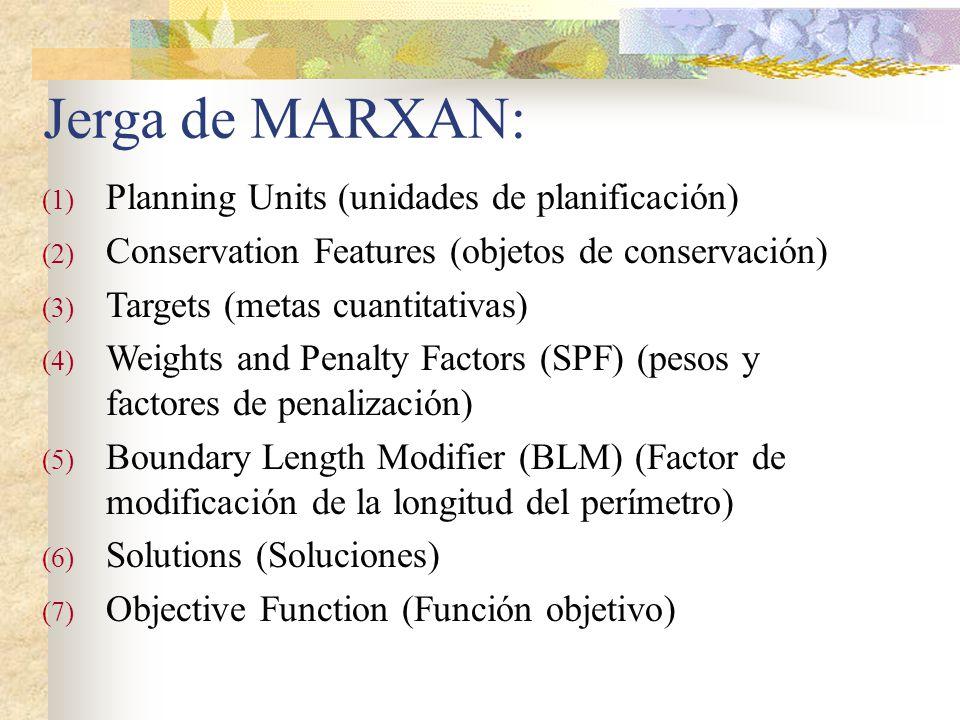 Jerga de MARXAN: Planning Units (unidades de planificación)