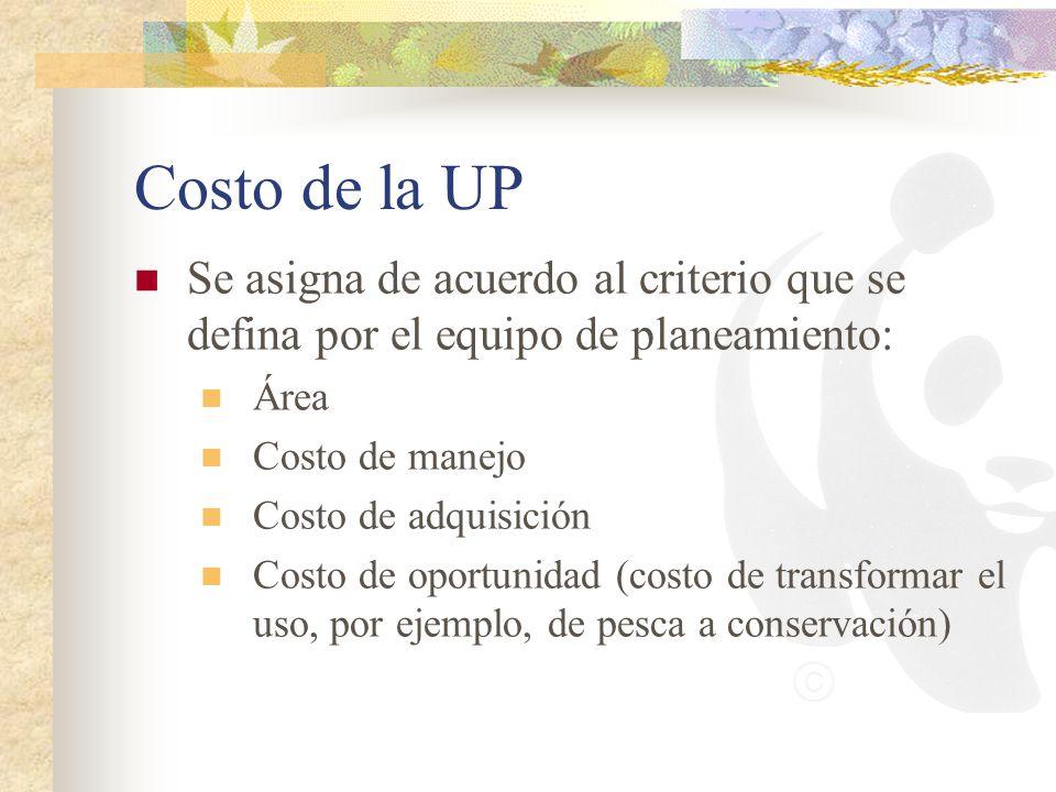 Costo de la UP Se asigna de acuerdo al criterio que se defina por el equipo de planeamiento: Área.
