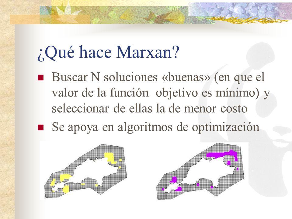 ¿Qué hace Marxan Buscar N soluciones «buenas» (en que el valor de la función objetivo es mínimo) y seleccionar de ellas la de menor costo.