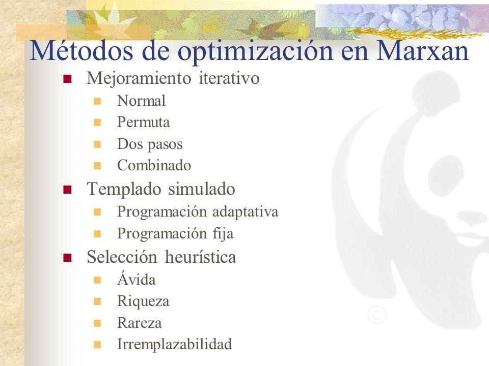 Métodos de optimización en Marxan