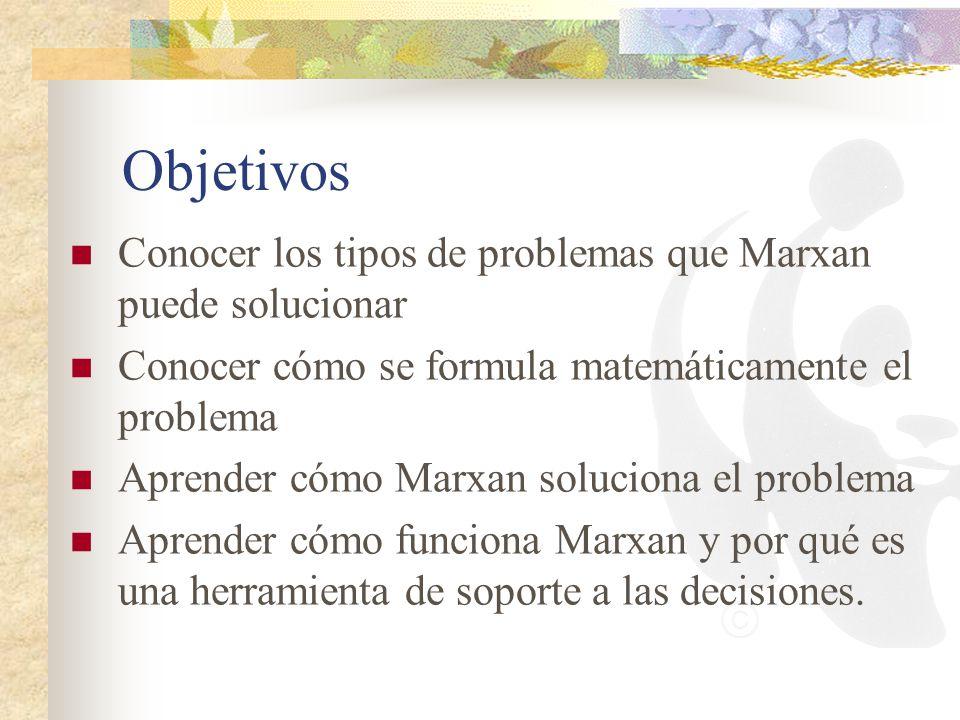 Objetivos Conocer los tipos de problemas que Marxan puede solucionar