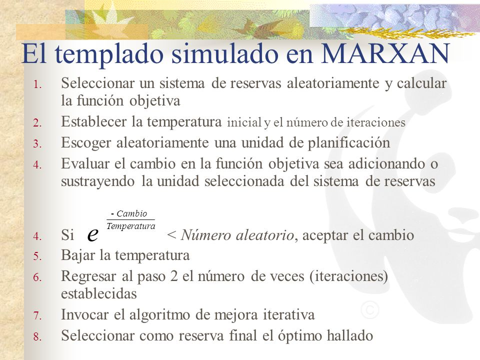 El templado simulado en MARXAN
