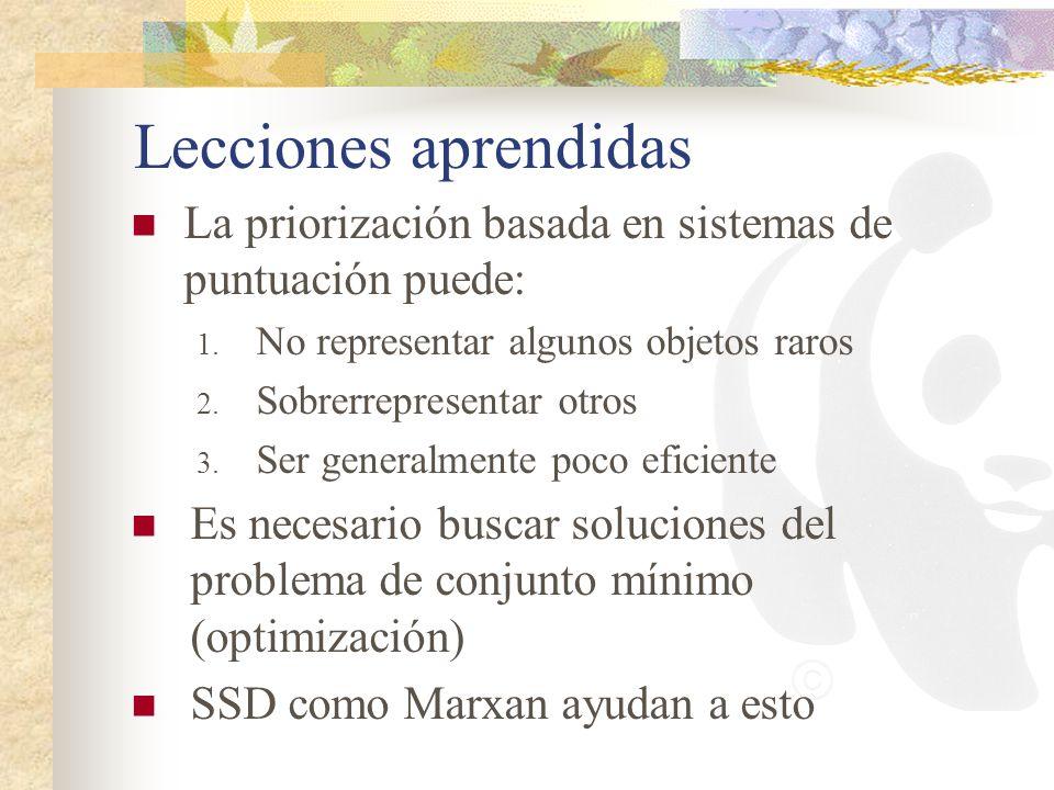 Lecciones aprendidas La priorización basada en sistemas de puntuación puede: No representar algunos objetos raros.