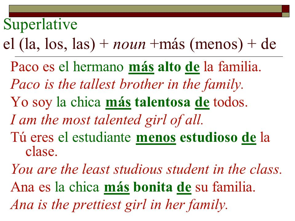 Superlative el (la, los, las) + noun +más (menos) + de