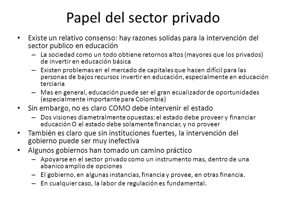 Papel del sector privado