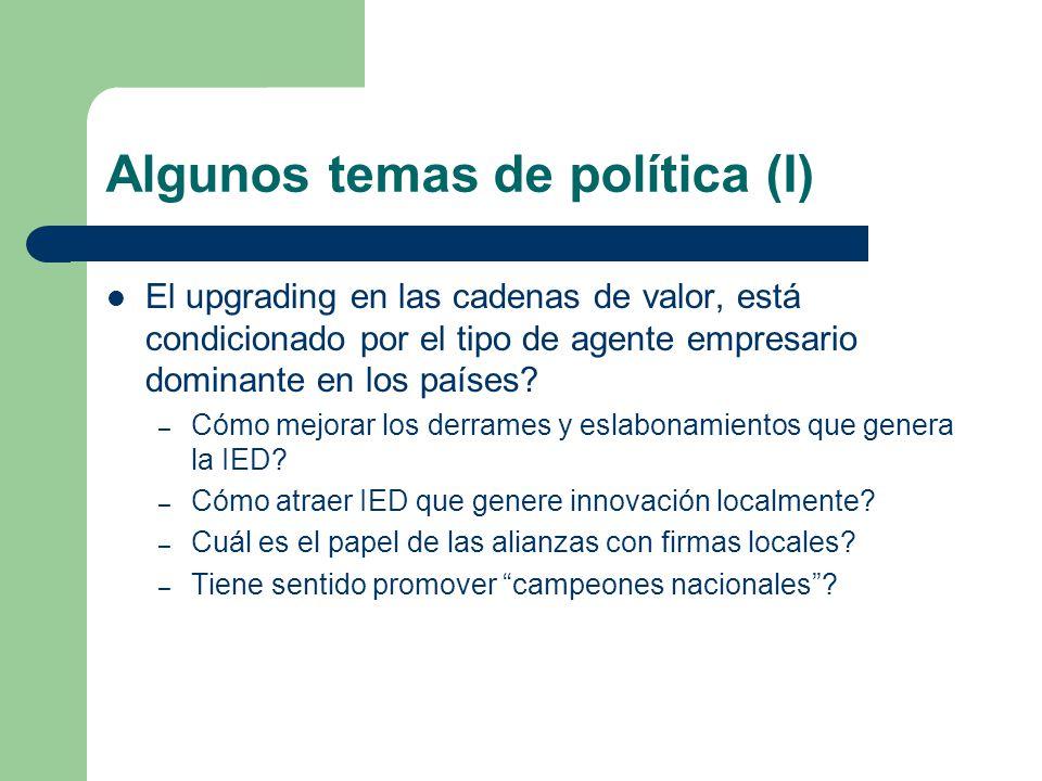Algunos temas de política (I)