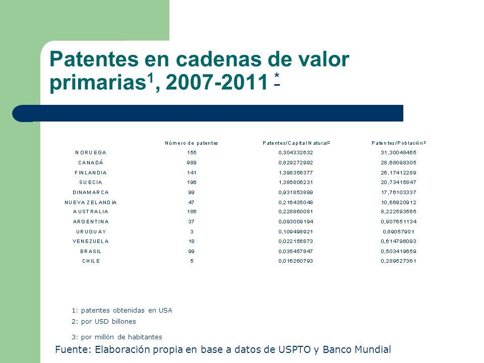 Patentes en cadenas de valor primarias1, 2007-2011 *