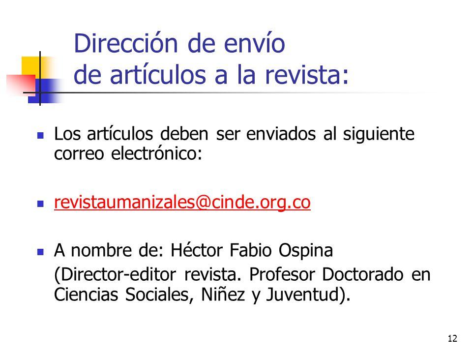 Dirección de envío de artículos a la revista:
