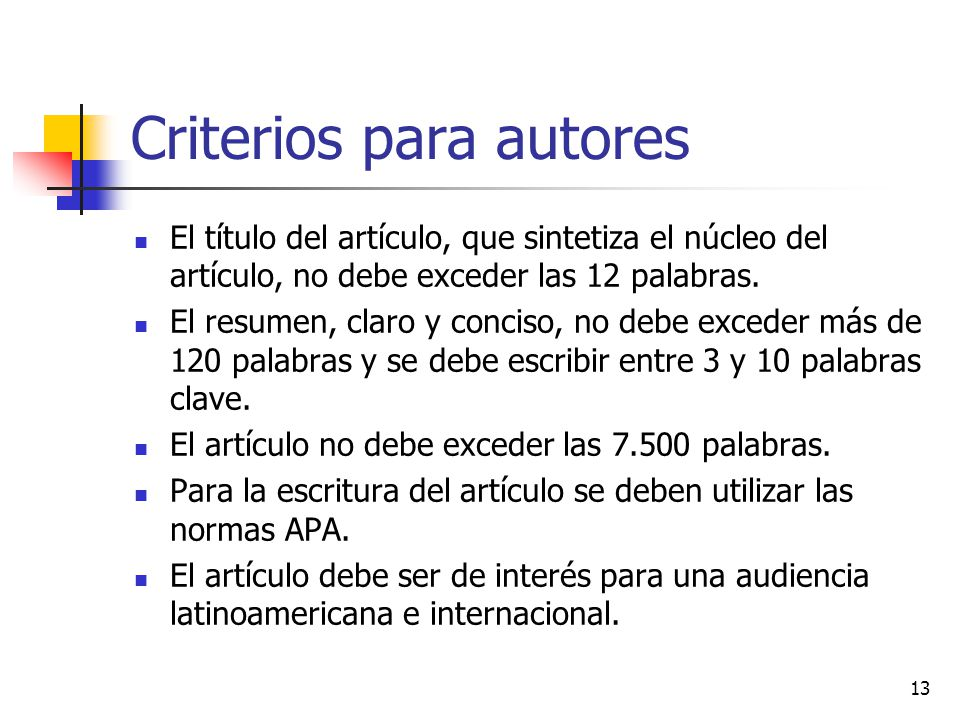 Criterios para autores