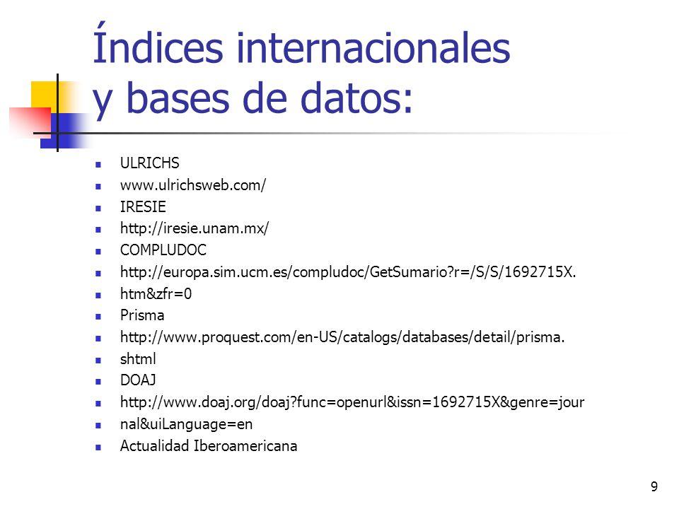 Índices internacionales y bases de datos: