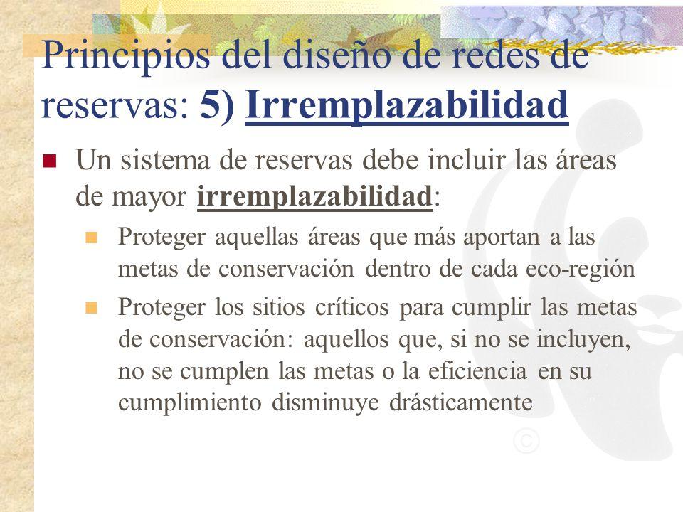 Principios del diseño de redes de reservas: 5) Irremplazabilidad