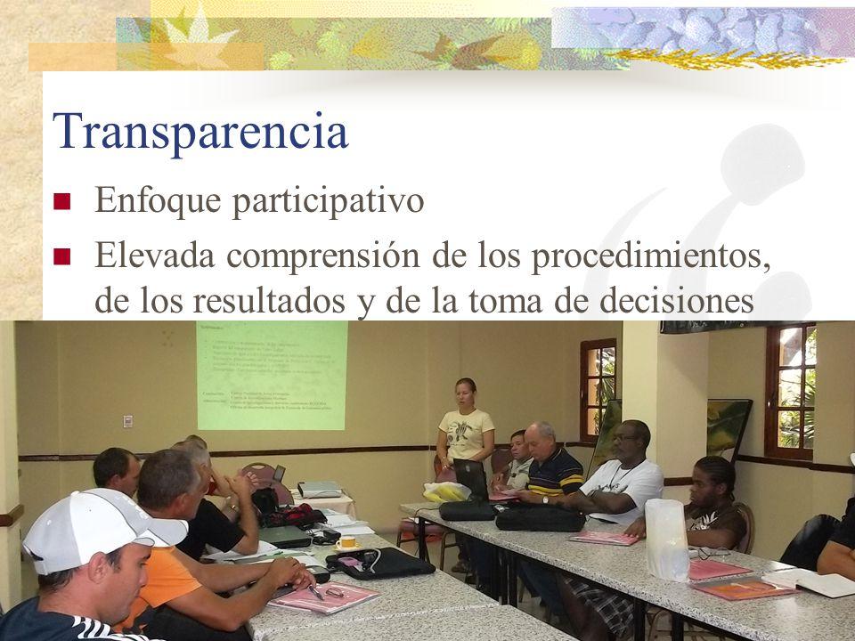Transparencia Enfoque participativo