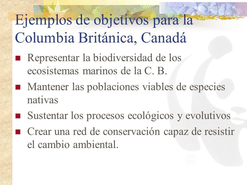 Ejemplos de objetivos para la Columbia Británica, Canadá