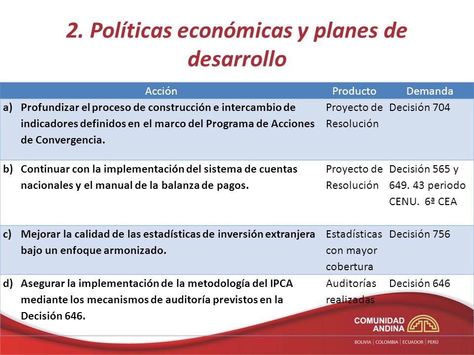 2. Políticas económicas y planes de desarrollo