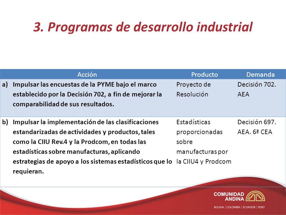 3. Programas de desarrollo industrial