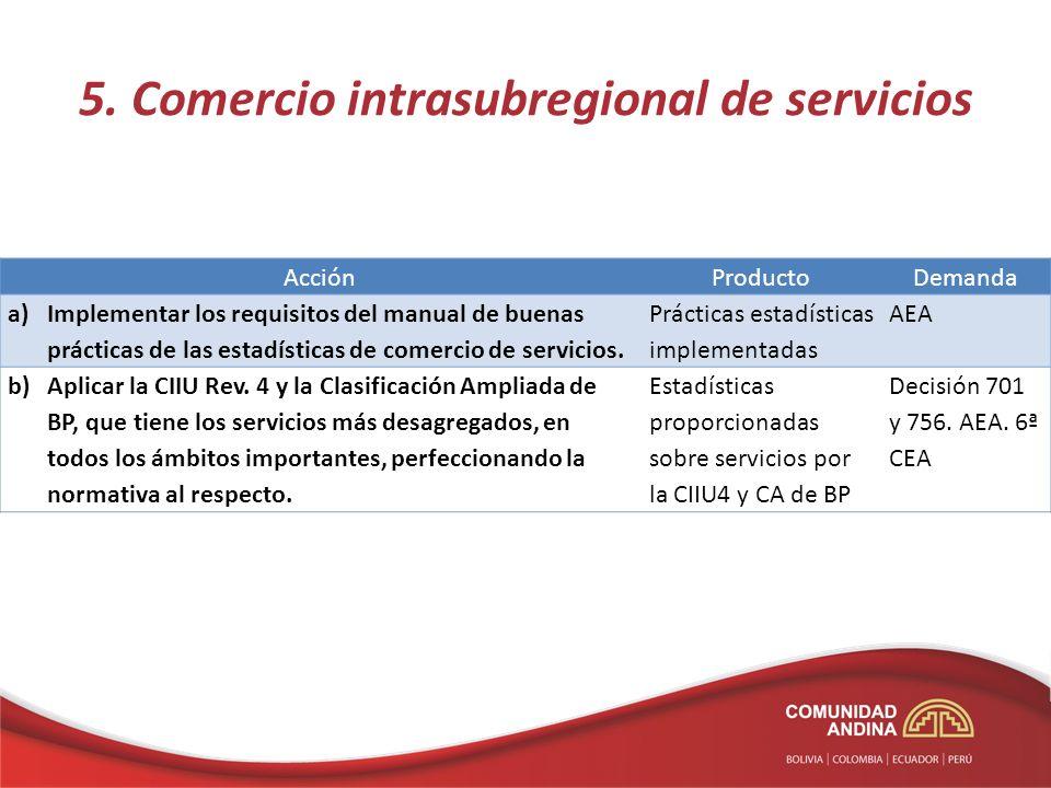 5. Comercio intrasubregional de servicios