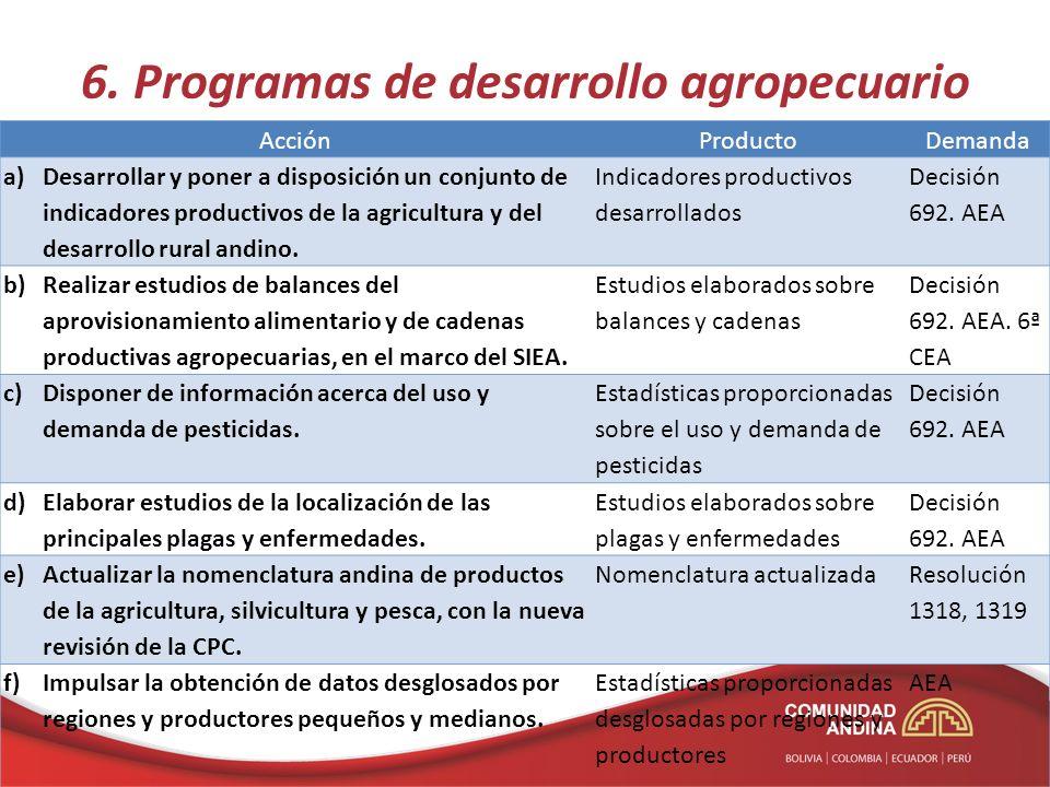 6. Programas de desarrollo agropecuario