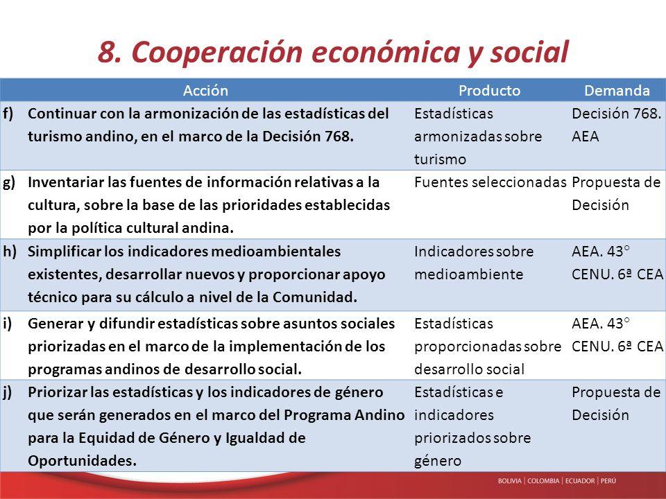 8. Cooperación económica y social