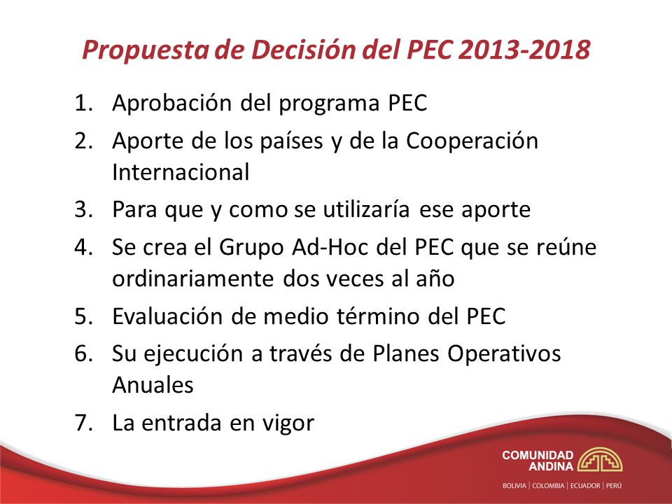 Propuesta de Decisión del PEC 2013-2018