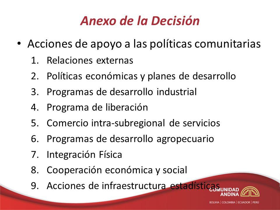 Anexo de la Decisión Acciones de apoyo a las políticas comunitarias
