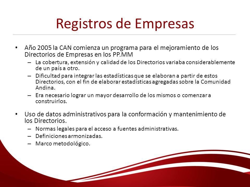 Registros de Empresas Año 2005 la CAN comienza un programa para el mejoramiento de los Directorios de Empresas en los PP.MM.