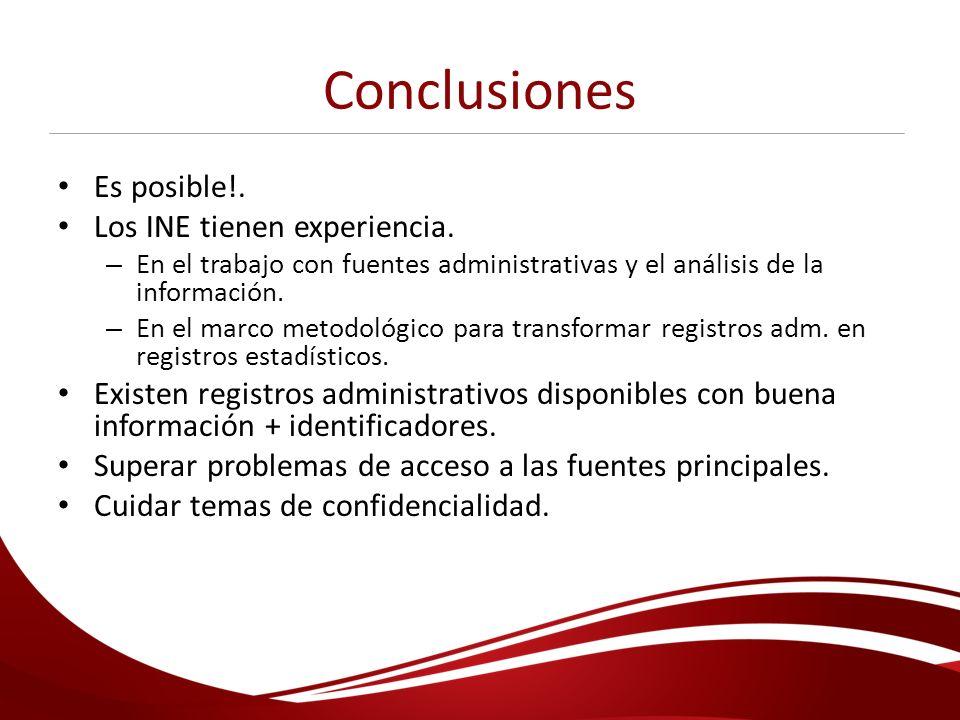 Conclusiones Es posible!. Los INE tienen experiencia.