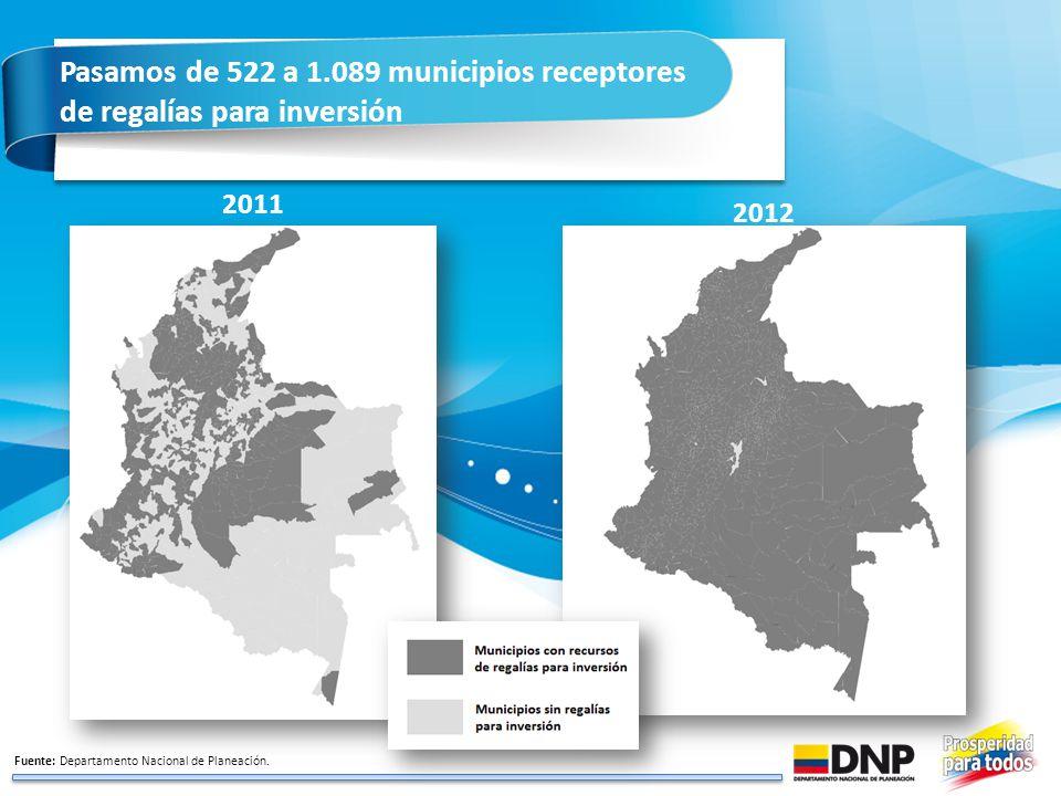 Pasamos de 522 a 1.089 municipios receptores