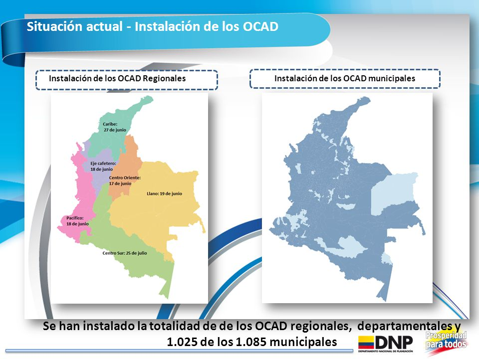 Instalación de los OCAD Regionales Instalación de los OCAD municipales
