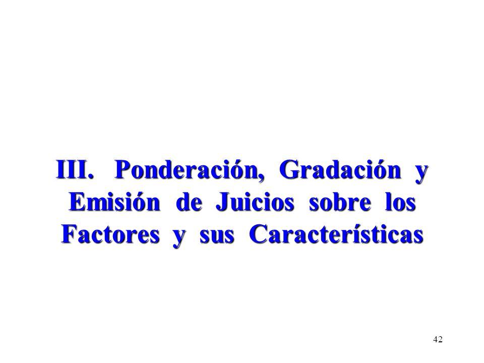 III. Ponderación, Gradación y Emisión de Juicios sobre los Factores y sus Características