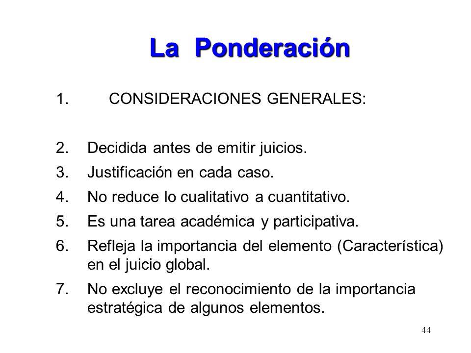 La Ponderación CONSIDERACIONES GENERALES: